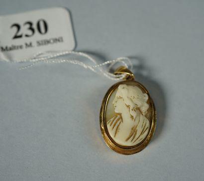 230- Pendentif en or serti d'un camée  Pds...