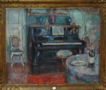 Ecole Belge Intérieur au piano Huile sur...