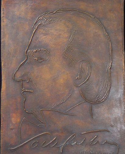 Plaque en bronze Sacha Gritry Signé et daté...