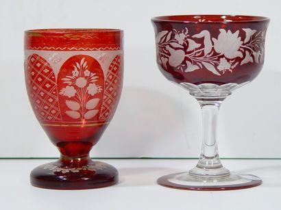 Deux verres en cristal de Bohème à décor...