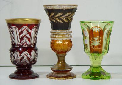 Trois verres en cristal de Bohème. (Petits...