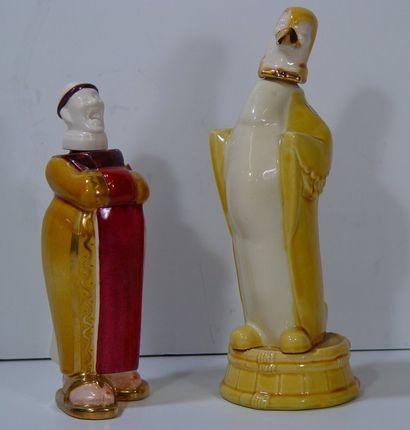 FRANOR Deux carafons en porcelaine. (Accidents)...