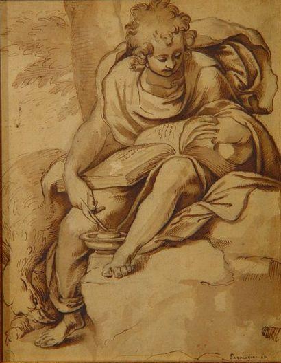 Ecole Italienne XVIIe Siècle Aigle aux pieds d'un jeune homme à la lecture Encre...