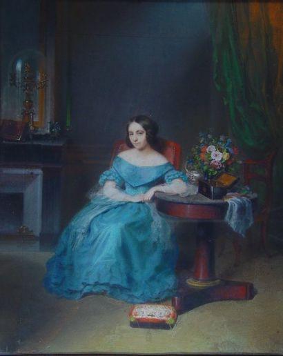 ECOLE FRANCAISE XIXe siècle Jeune femme dans son boudoir Pastel Dim : 68 x 55 cm
