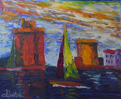 Port de la Rochelle Huile sur toile signée...