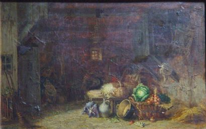 G.GHONE « La grange » Huile sur toile Dim 32x47cm
