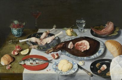 Jacob VAN HULSDONCK (Anvers 1582 – Anvers 1647) Nature morte au déjeuner gras et...