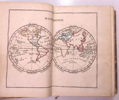 ATLAS et tables élémentaires de géographie. Paris, Barbou, 1777. Petit in-8, demi-basane,...