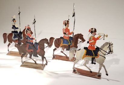 ANONYME. 2nd Empire Prusse. Ce lot comprend 1 hussard, 1 trompette de hussard (manque...