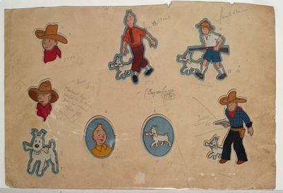Tintin - Ecussons en tissu Ensemble complet...