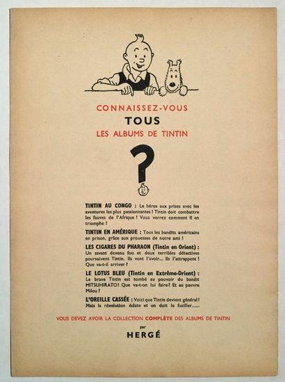 Tintin - Publicité Double feuillet publicitaire...