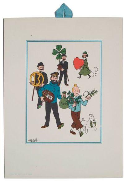 Tintin - Carte porte-bonheur Grande carte...