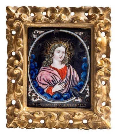 Plaque en émail polychrome Salvador Mundi...