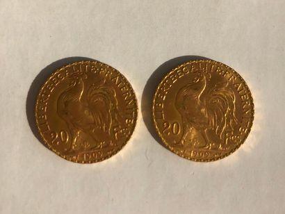2 pièces de 20 francs or Poids: 14g