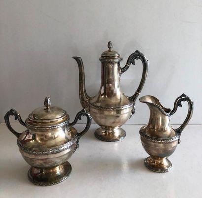 Service thé café 3 pièces comprenant théière,...