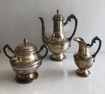 Service thé café 3 pièces comprenant théière, pot à lait et sucrier à décor de frise...