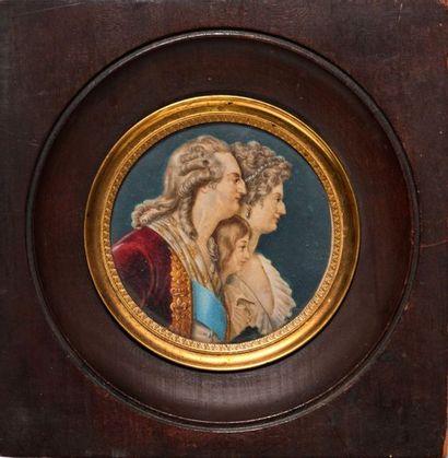 *Miniature sur ivoire La famille royale,...