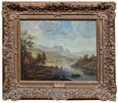 HERMAN SAFTLEVEN (Rotterdam 1609 - Utrecht 1685) Paysage de rivière et montagnes...
