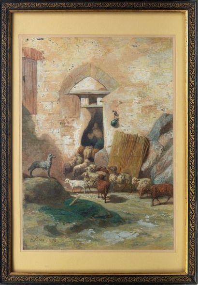 DORÉ Gustave (Graveur de). PISAN (Héliodore-Joseph) . Aquarelle signée en bas gauche....