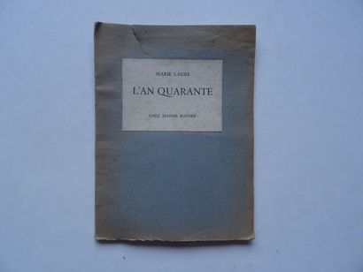 «L'an quarante», Marie Laure; Ed. Chez...