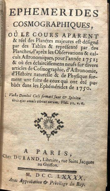 Ephemeriques cosmographiques Paris 1790,...