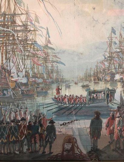 Michel DE TOULON (XVIIIème siècle) Departure of the King Gouache watercolour Signature...