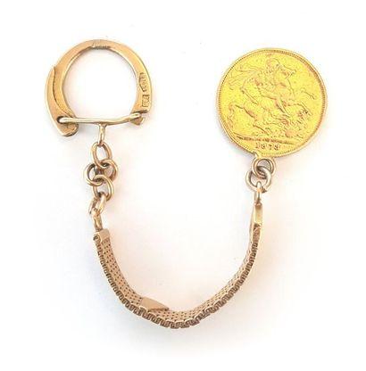 Porte-clé avec 1 pièce en or jaune Victoria...