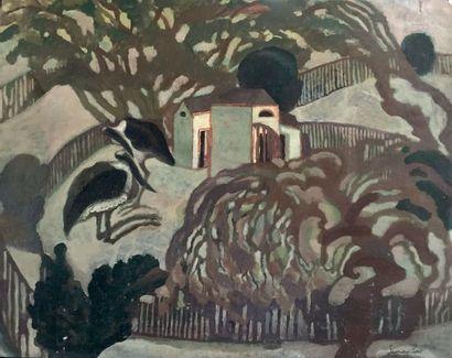 Henri SAMOUILOV (1930-2014) Ibis au Jardin des Plantes Huile sur papier, signée en...