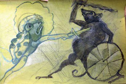 Henri SAMOUILOV (1930-2014) Combat souris et grenouille Pastel, huile et gouache...