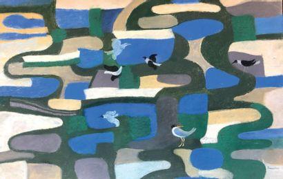 Henri SAMOUILOV (1930-2014) Mouettes Pastel, signé en bas à droite 75 x 110 cm
