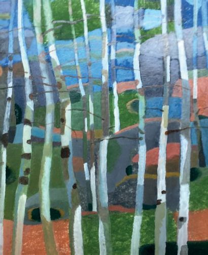 Henri SAMOUILOV (1930-2014) Birch trees Oil on plywood 52 x 71 cm