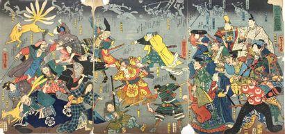 Ensemble de triptyques oban tate-e Utagawa...