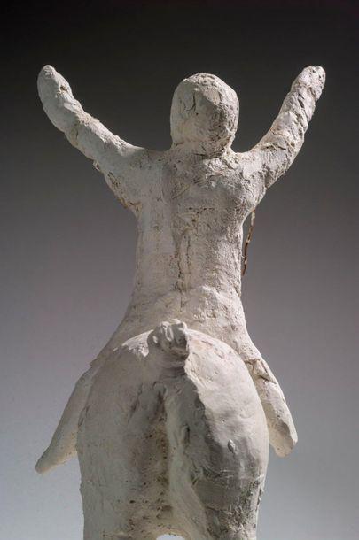 Marino MARINI (1901-1980) Cavaliere Sculpture en plâtre et métal Signée sur la terrasse...