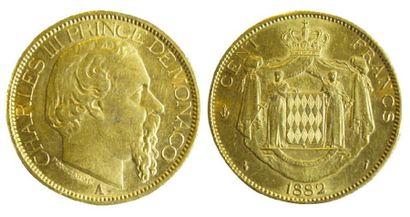 MONACO Charles III (1856-1889). Cent francs, 1882 Paris. (TTB).
