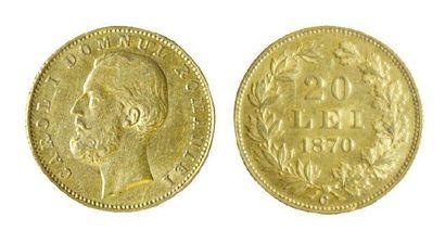 ROUMANIE Carol I (1866-1914). Vingt lei à la vieille tête, 1870 C. (Très rare et...