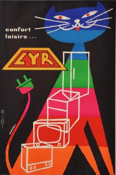 AURIAC Jacques Confort loisirs…. Électroménagers LYR. 1959. Affiche lithographique....