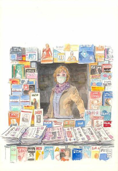 """Milo Manara """"Marchande de journaux""""  Aquarelle sur papier  25 x 36 cm"""