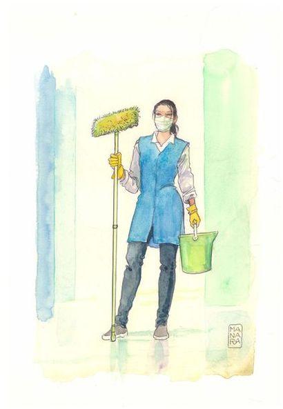 """Milo Manara """"Agente de nettoyage d'hôpital""""  Aquarelle sur papier  25 x 36 cm"""