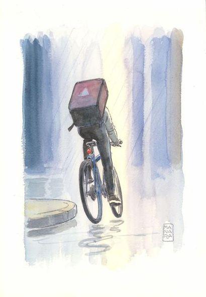 """Milo Manara """"Coursier à vélo""""?Aquarelle sur papier  25 x 36 cm"""
