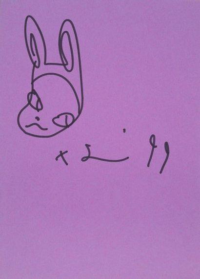 Yoshitomo NARA (1959) Rabbit, 99 Black felt on purple paper signed lower right and...