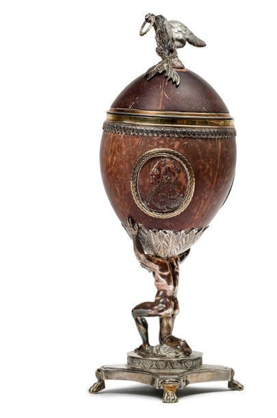 Important Russian egg in carved coconut shell, circa 1820, mounted in silver and...