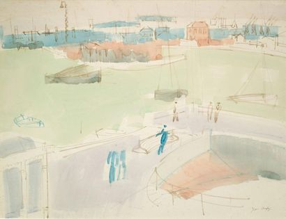 Jean DUFY (1888-1964) Animated Port Watercolor signed lower right 47 x 61 cm