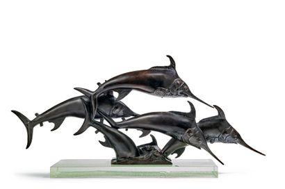 W.A. LOVEGROVE Espadons,1935 Bronze with deep black patina, on glass slab Old proof...