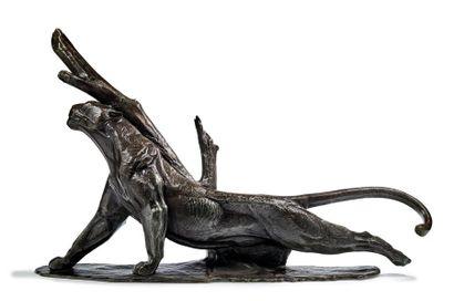 André-Vincent BECQUEREL (1893-1981) Panther rubbing against a tree, circa 1930 Bronze...