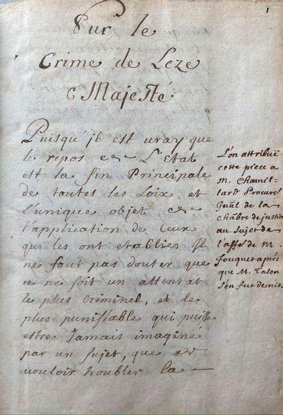 Recueil juridique manuscrit. 1 volume in-8,...