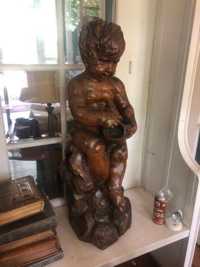 L'enfant au poisson  Grande sculpture en...