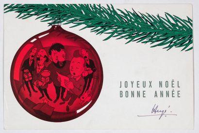 HERGÉ Carte de Voeux 1959 : Superbe carte représentant les personnages de Hergé se...