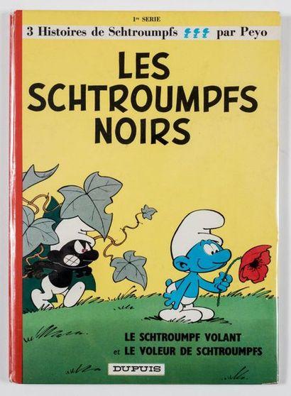 Peyo - dédicace Les schtroumpfs noirs. Edition de 1965 agrémentée d'un extraordinaire...