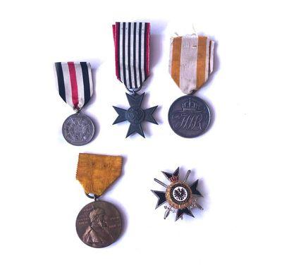 ALLEMAGNE (PRUSSE) Cinq médailles : T.T.B....