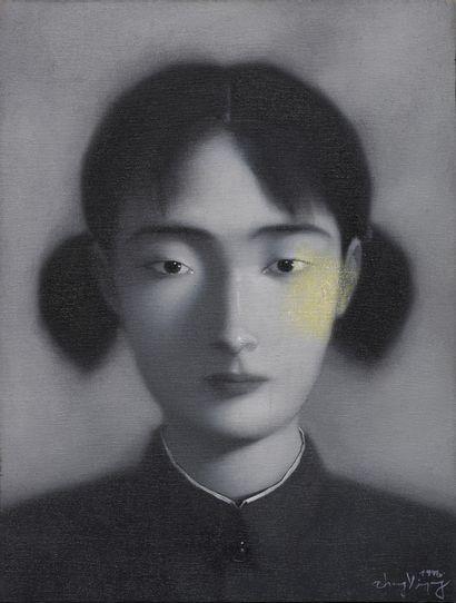 ZHANG XIAOGANG (1958) Portrait de jeune femme, 1996 Huile sur toile, signée et datée...